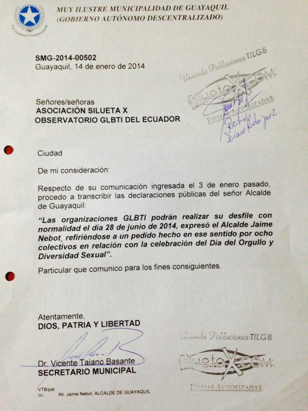 1er Permiso para la Marcha del Orgullo y Diversidad 2014 gestionado por la Asociación Silueta X - Diane Rodríguez