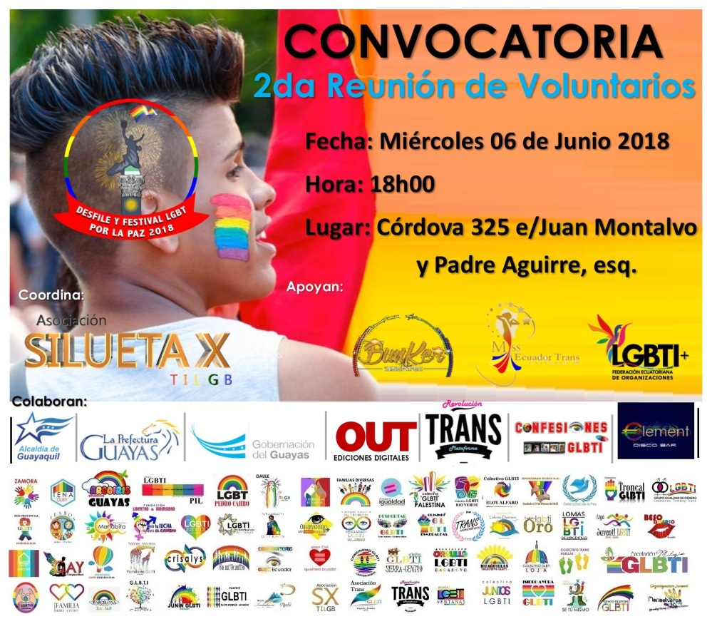 2da Reunión de Voluntarios Orgullo LGBTI 2018 - Asociación Silueta X - Federación nacional - orgullo guayaquil