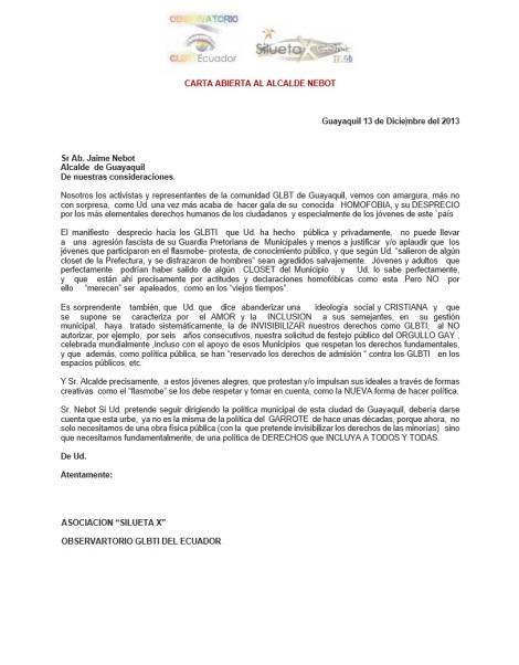 Carta abierta sobre el orgullo guayaquil gay pride al alcalde nebot saadi - Asociación SIlueta X 2014