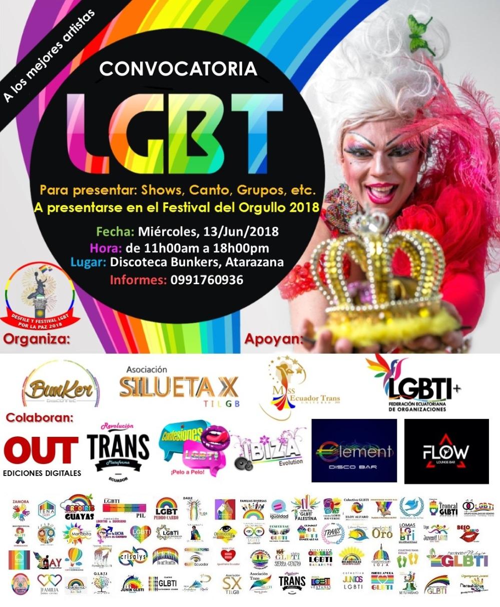 Convocatoria a artistas LGBT para el Festival 2018