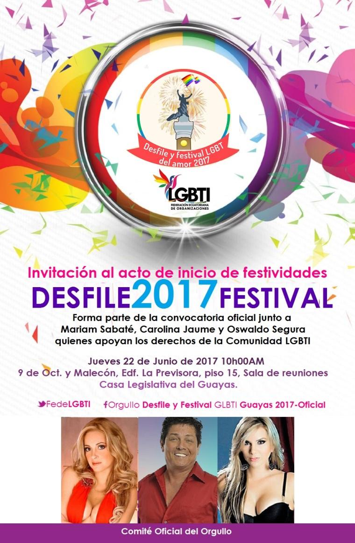 Desfile y Festival del Orgullo 2017 Carolina Jaume, Oswaldo Segura, Mariam Sabaté - Orgullo Guayaquil - Gay Pride Ecuador