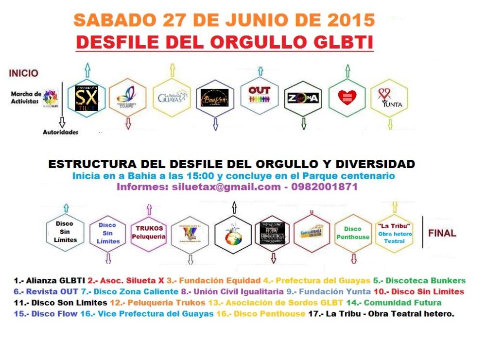 Distribución de bloques orgullo gay y diversidad sexual 2015 - Orgullo Guayaquil Gay Pride Guayaquil Ecuador