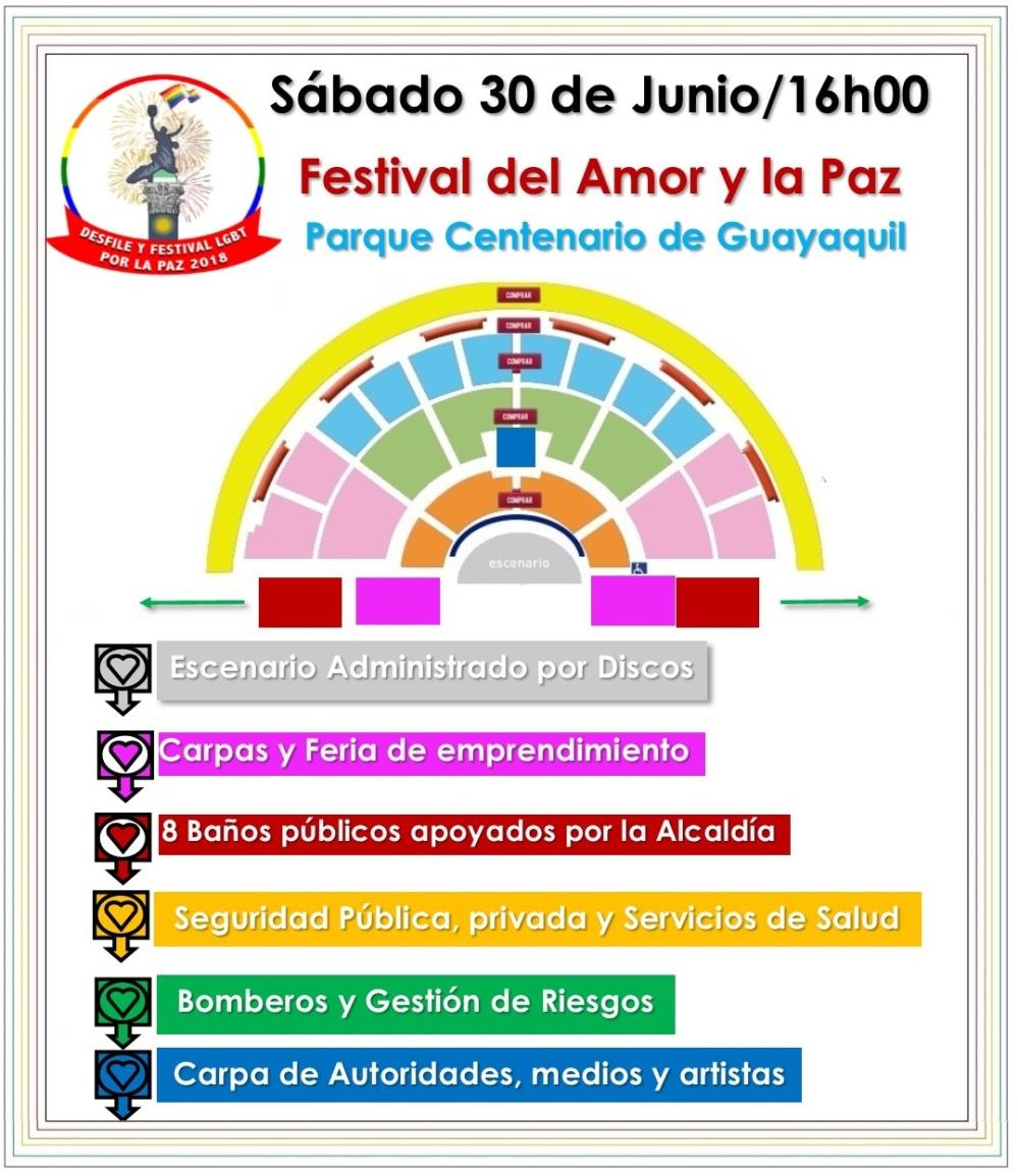 Festival del Amor y la Paz 2018 - Federación Ecuatoriana de Organizaciones LGBT - Silueta X - Orgullo Guayaquil