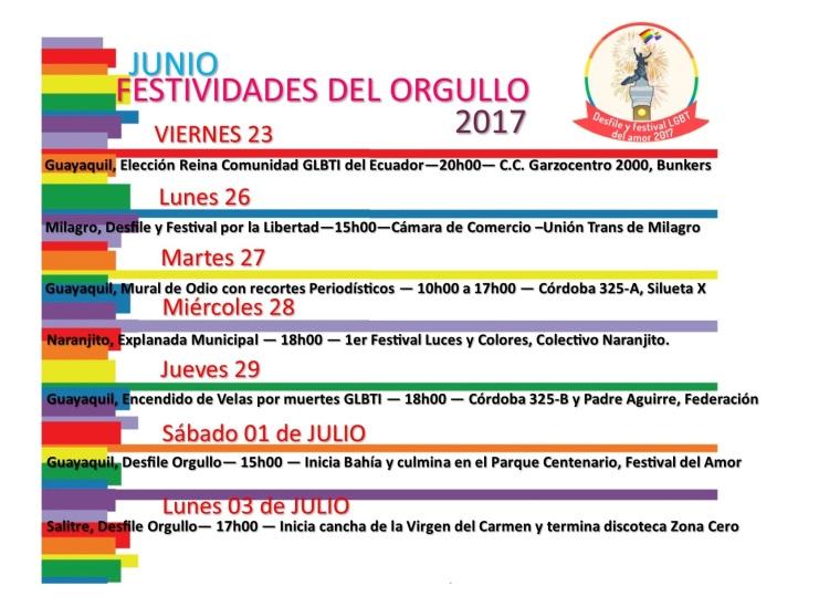 festividades del orgullo 2017- Orgullo Guayaquil - Gay Pride Ecuador