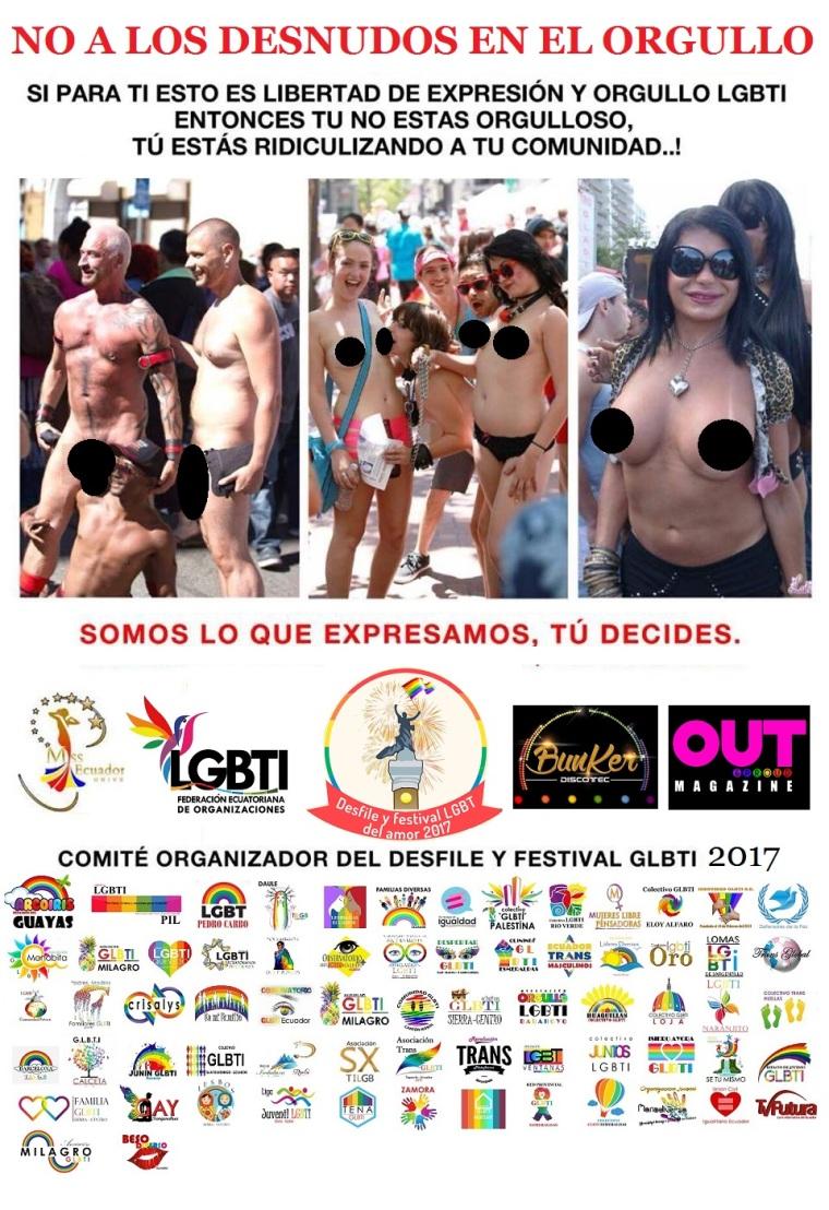 No a los desnudos en el orgullo 2017 - Federacion LGBT- Orgullo Guayaquil - Gay Pride Ecuador