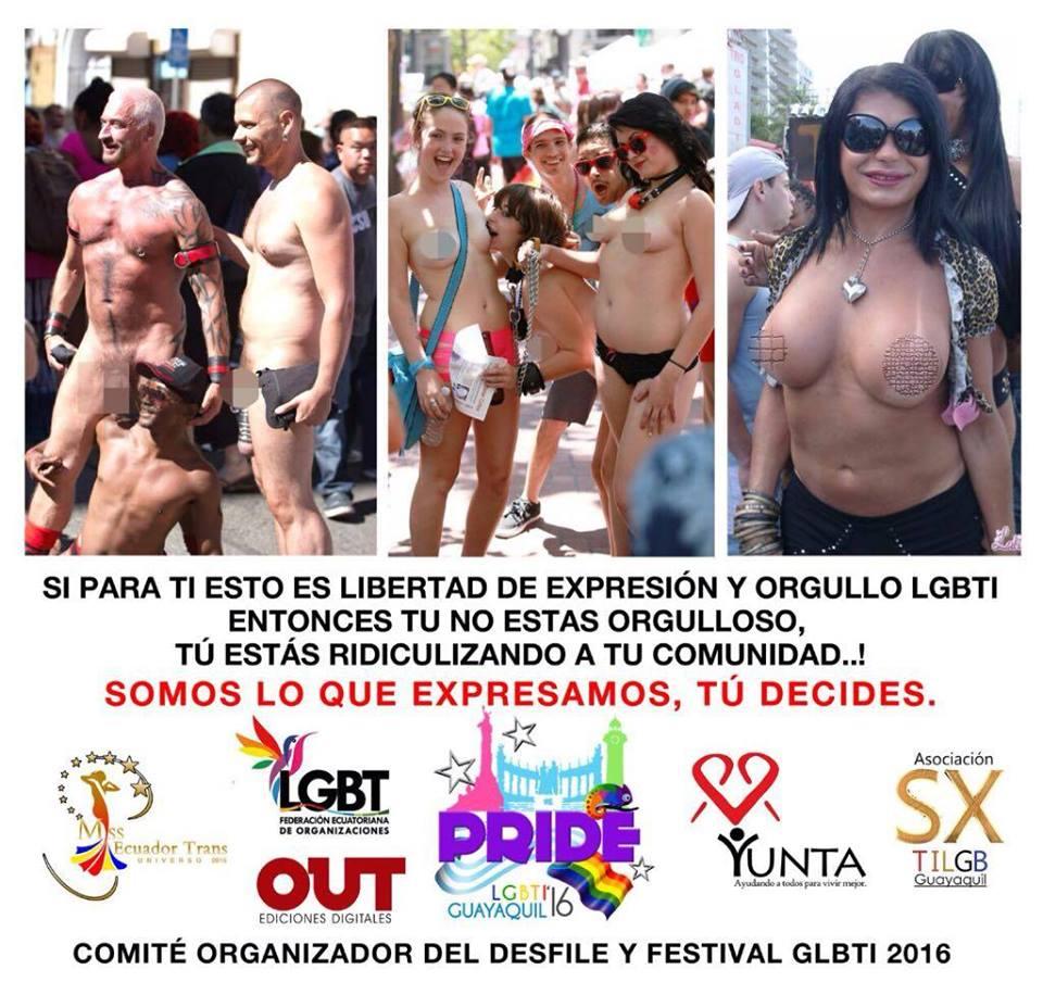 Orgullo Guayaquil - Gay Pride Guayaquil - Ecuador - No se permitirá desnudos durante el Orgullo LGBTI 2016