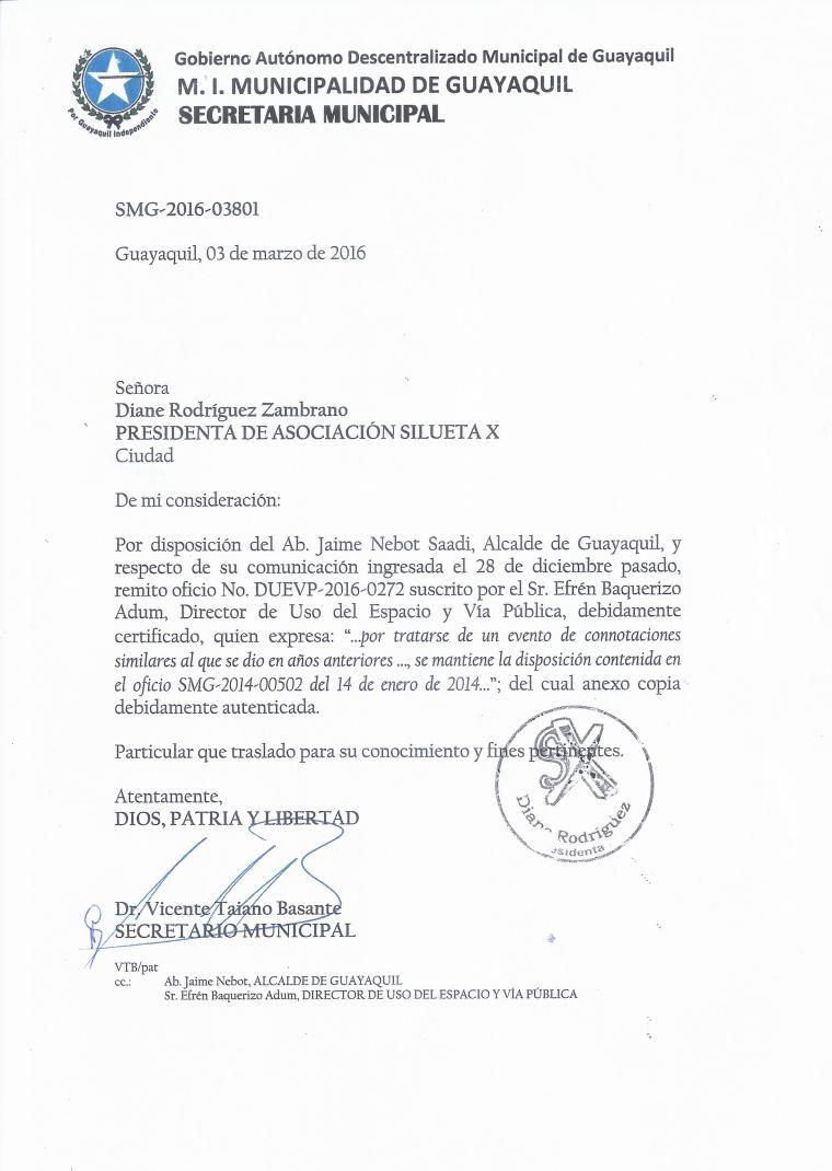 Orgullo Guayaquil - Gay Pride Guayaquil - Ecuador - Permiso Legal Marcha del Orgullo y Diversidad Sexual 2016 otorgado a la Asociación SIlueta X