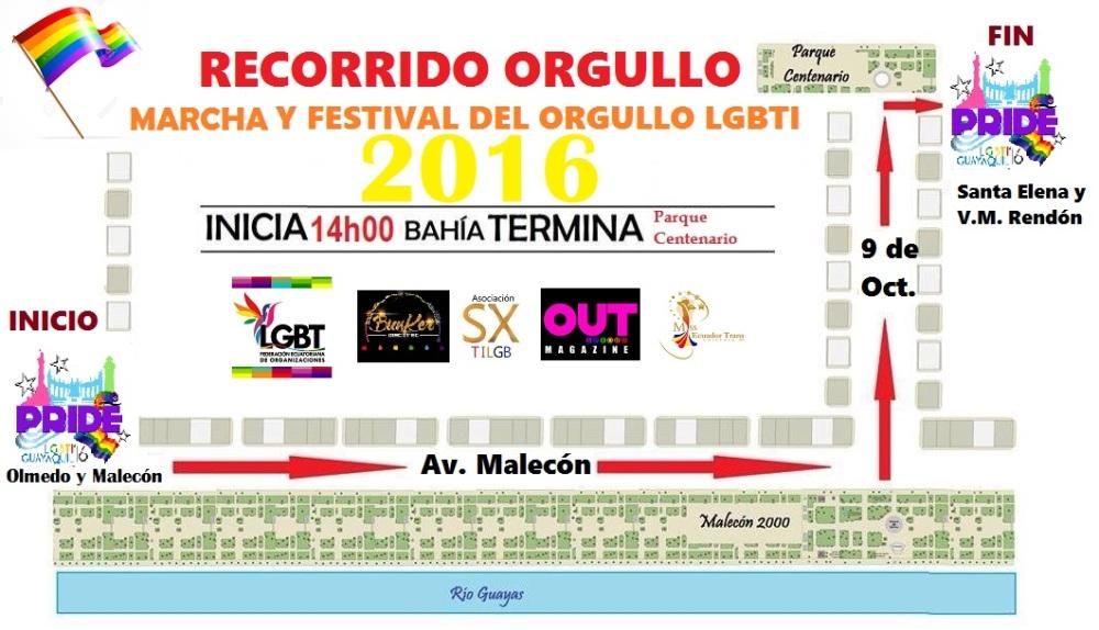 Orgullo Guayaquil - Gay Pride Guayaquil - Ecuador - Recorrido del Orgullo LGBTI 2016 Guayas
