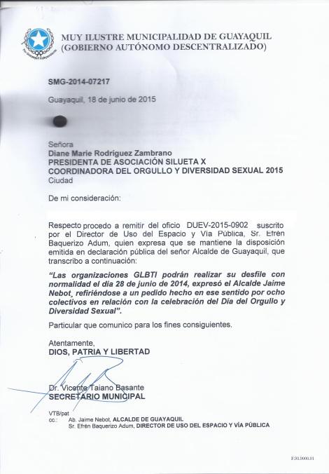 Permiso del Orgullo Guayaquil o Gay Pride Guayaquil 2015 - Asociación Silueta X - Alcaldia de Guayaquil