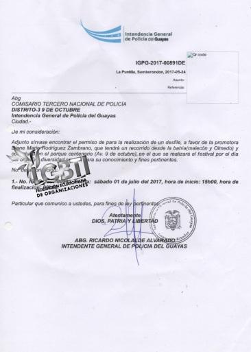 Permiso Intendencia de policia gobernacion Orgullo Guayaquil 2017