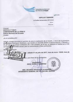 Permiso Intendencia de Policia permiso - Orgullo Guayaquil 2017