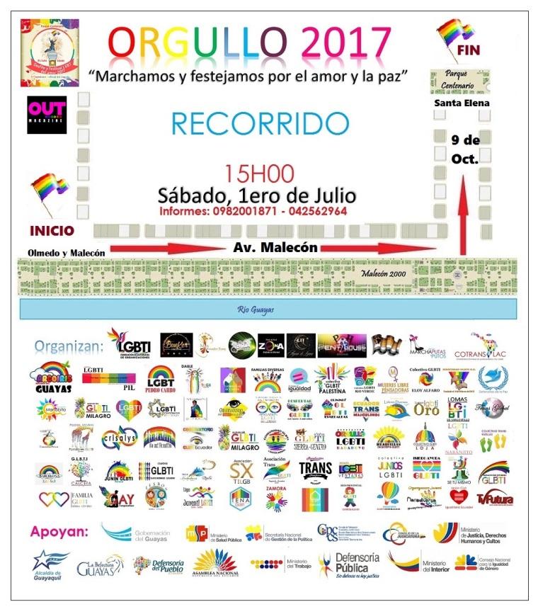 Recorrido del Orgullo LGBTI 2017 Guayas - Federación Ecuatoriana de Organizaciones LGBTI