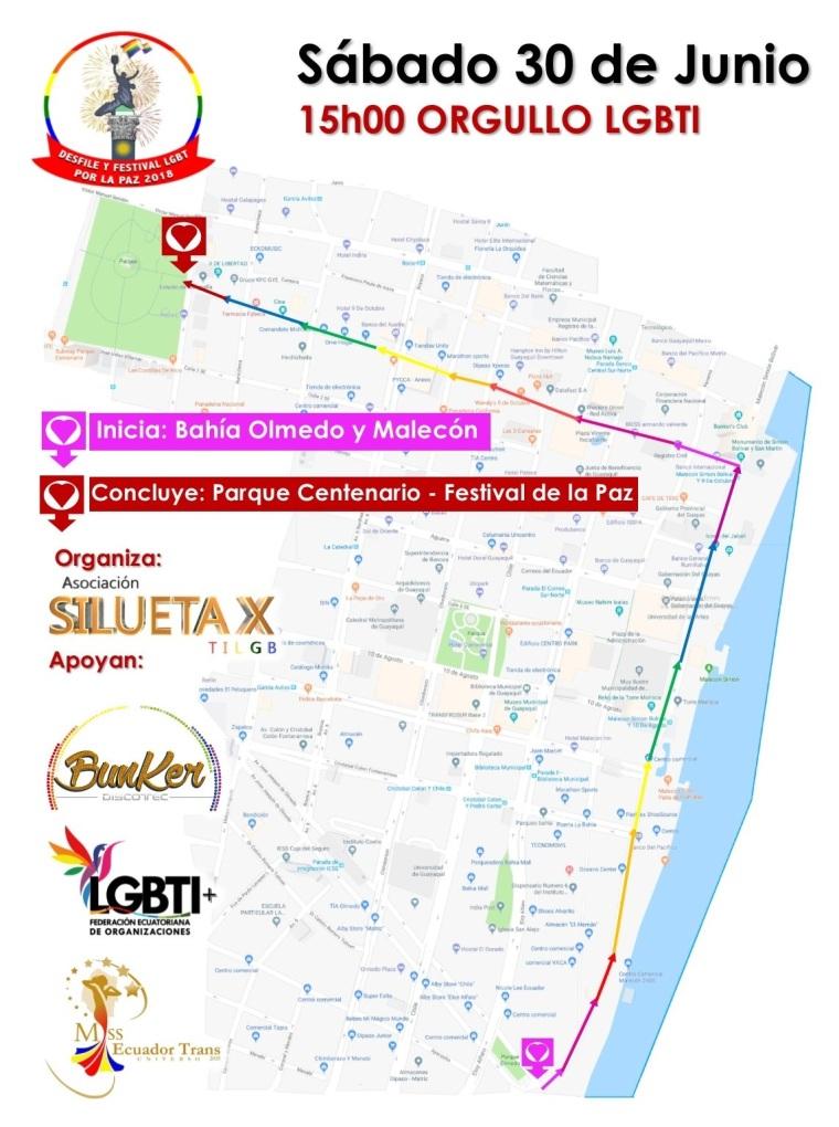 Recorrido del Orgullo y Diversidad Sexual 2018 - Orgullo Gay Ecuador - Organiza Asociación Silueta X - Apoya Federación Ecuatoriana de Organizaciones LGBTI