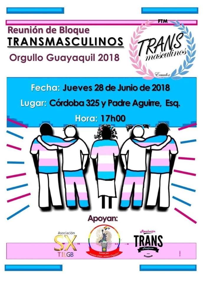 Reunión de bloque Transmasculinos FTM-Asociacion Silueta X-Federacion LGBTI-Orgullo Guayaquil 2018