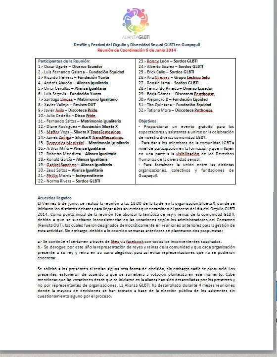 Reunión de coordinación orgullo guayaquil 2014