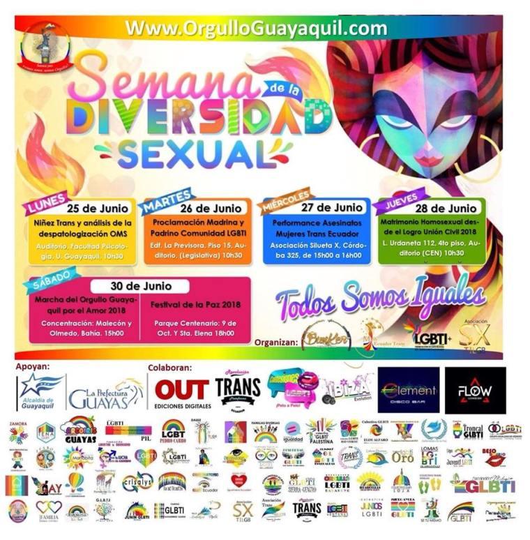 Semana de la Diversidad Sexual-Orgullo Guayaquil-Asociacion Silueta X-Federacion LGBTI-Plataforma Revolucion Trans