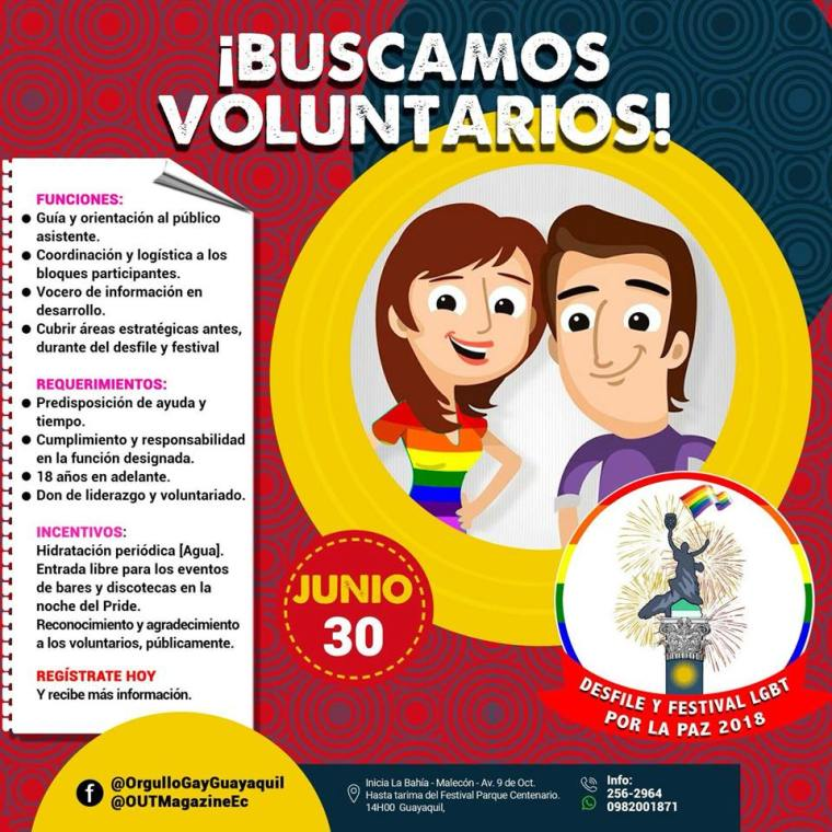 Voluntarios Orgullo Gay Pride Guayaquil 2018