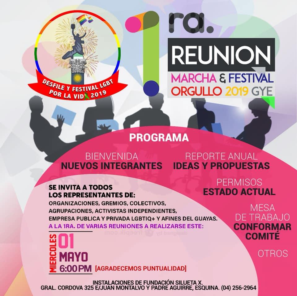 1era Reunión del Orgullo Guayaquil, Orgullo Gay, Orgullo LGBT Guayaquil 2019