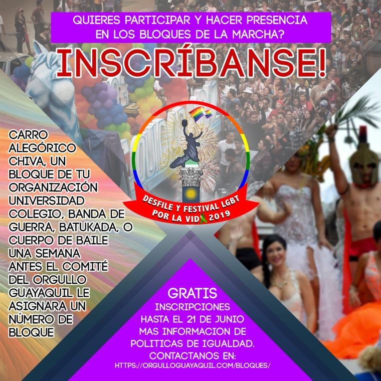Inscribirse para carrozas, carros alegoricos, grupos, bloques, organizaciones, batucadas, bandas, cuerpos de bailes, banda de guerra, orgullo Guayaquil 2019
