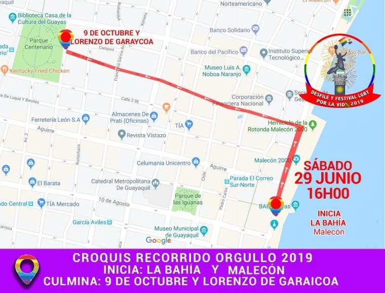 Orgullo Guayaquil 2019 - Ruta o croquis del desfile o Marcha del Orgullo mas grande Ecuador