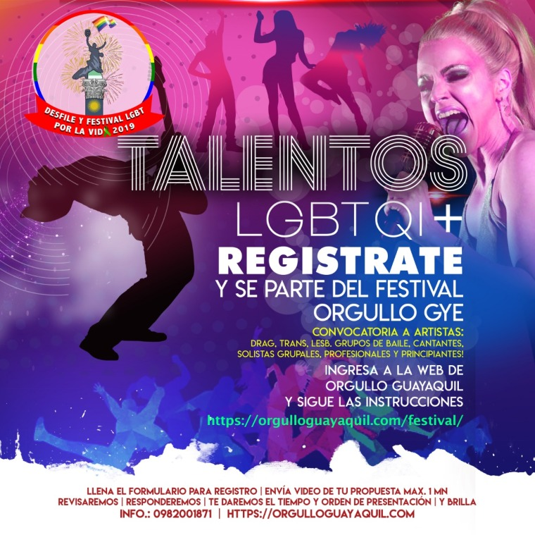 Regístrate para el Festival Orgullo Guayaquil 2019