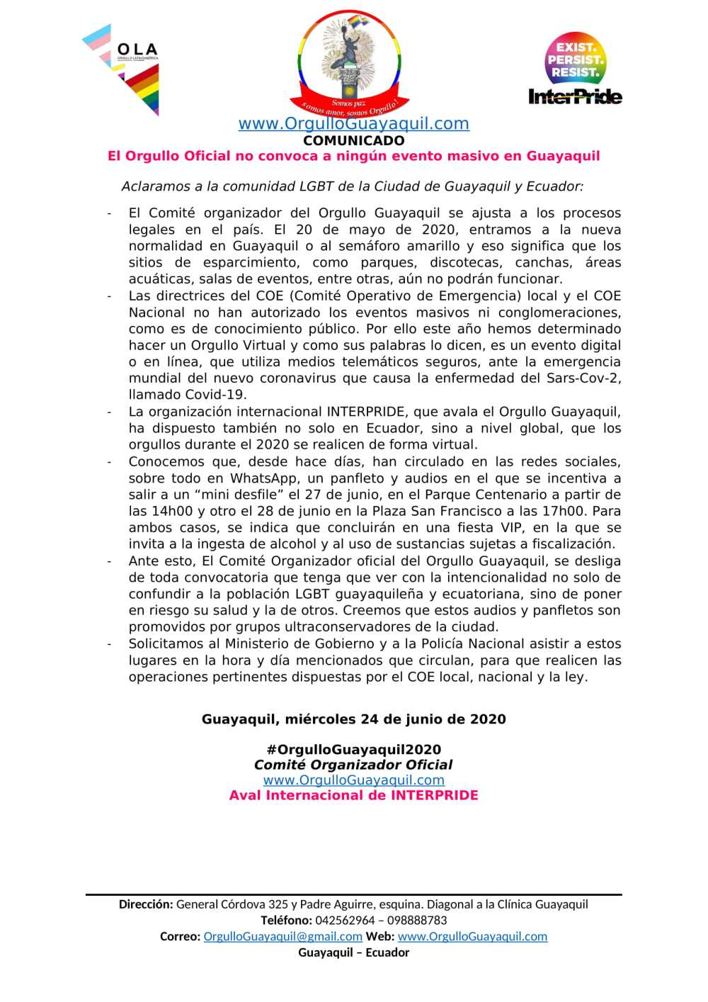 Comunicado - El Orgullo Oficial no convoca a ningún evento masivo en Guayaquil - Orgullo Guayaquil-1